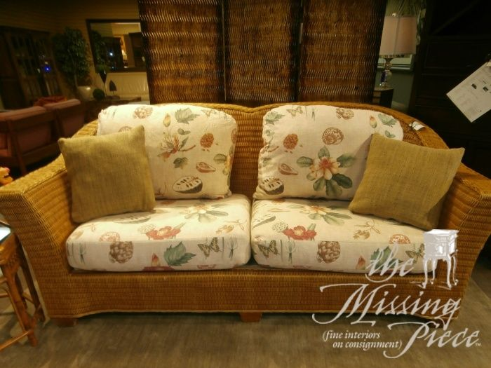Perfect Benchcraft Rattan Sofa With Spring Seating And Plump Cushions. Measures  44x38x38. Attractive Enough For