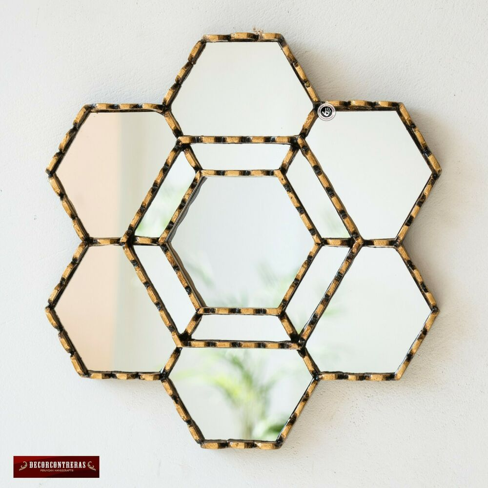 """Ledgestone Exterior Accent Wall With Blues And Gold: Gold Hexagonal Wall Mirror 11.8"""" From Peru Gold Accent"""