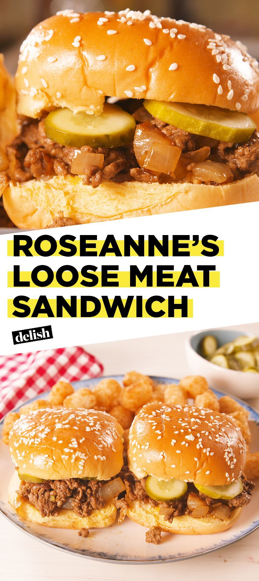 Roseanne fans, THIS is what you need to eat while watching the show. Get the recipe at Delish.com. #recipe #easyrecipe #roseanne #meat #cheesecake recipes #loose #meat #recipes for two #roseanne #Roseannes #sandwich #sandwich recipes #stir fry recipes
