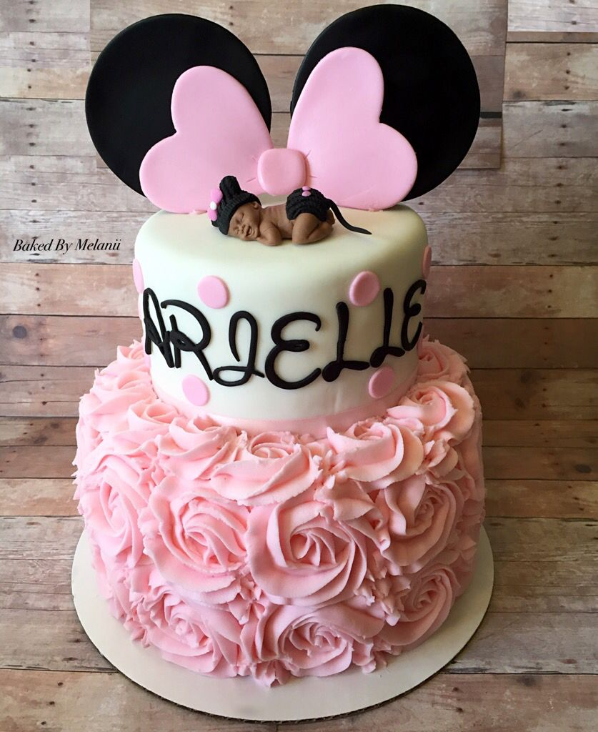 Adorable Minnie Mouse baby shower cake Fondant baby topper Rose