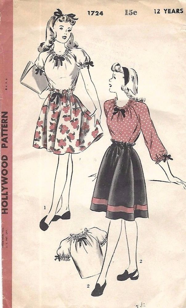 1940\'s Vintage Sewing Pattern Hollywood Girl\'s Peasant Blouse ...