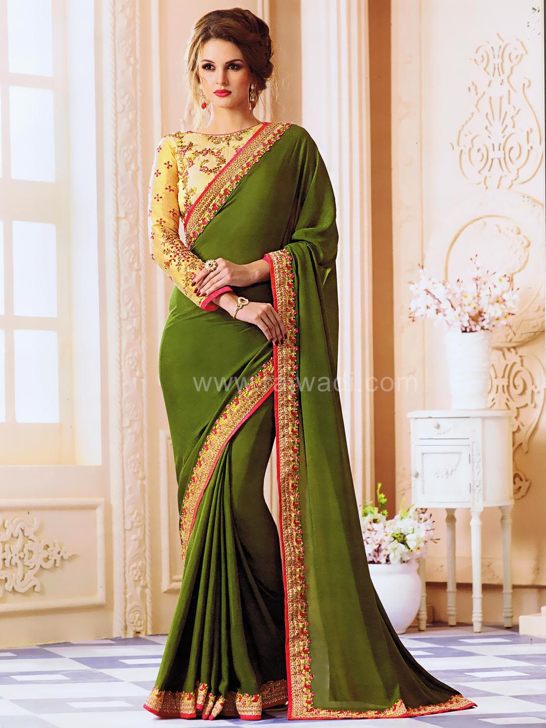 6ccfc7631e8a9d Olive green color saree with Border Work and contrast color embroidered  blouse  rajwadi  saree  ethnicwear  occasionwear  sareeswag  traditional
