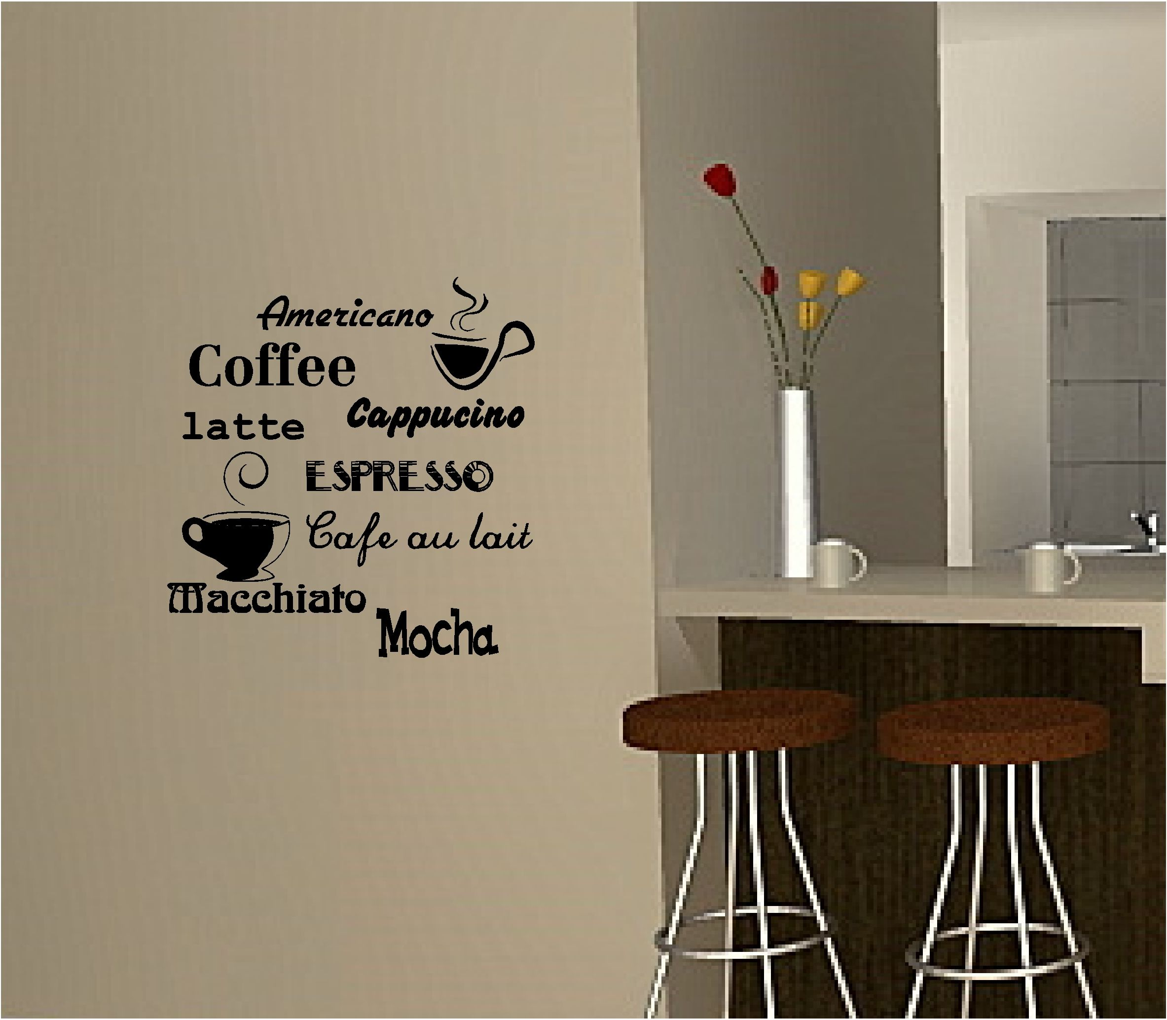 Coffee Wall Art Sticker Vinyl Quote Kitchen Cafe Writing On The