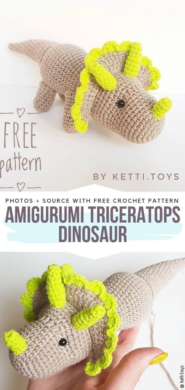 Crochet Triceratops Ideas Free Patterns #crochetdinosaurpatterns