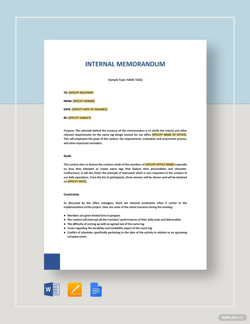 Internal memo template in 2020 marketing plan template