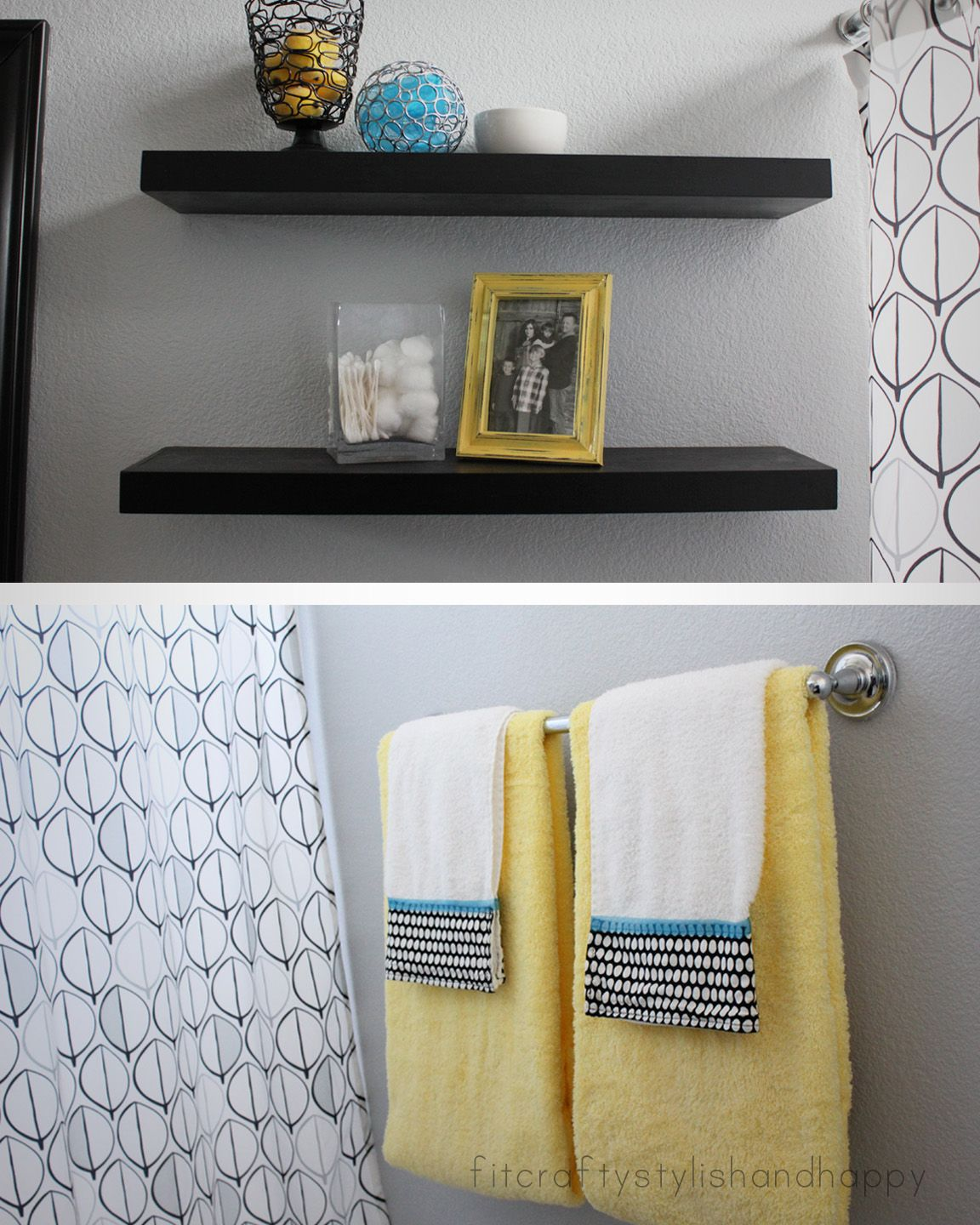 Blue And Yellow Bathroom Decor: Fit, Crafty, Stylish And Happy: Guest Bathroom Makeover