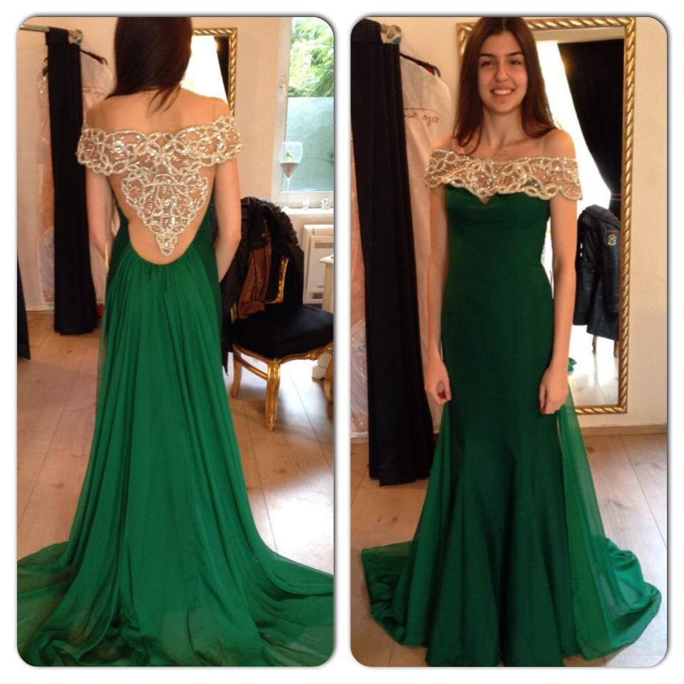Click to buy ucuc new emerald green evening dresses chiffon with short