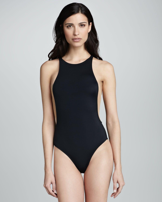 adb08da66f3df OYE Swimwear Stella High-Neck Nude-Insert One-Piece Swimsuit