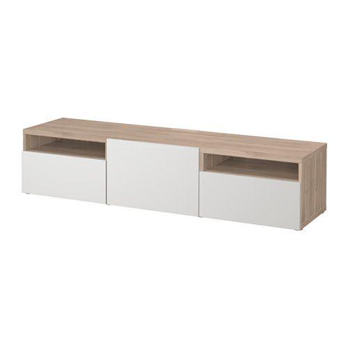 BESTÅ TV-Bank, weiß, Hallstavik blaugrün | Wohnzimmer