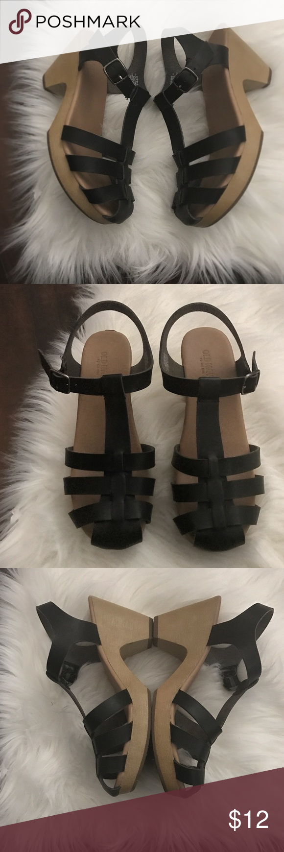 Old Navy Clogs Here's a super cute pair of clog heels from old navy! Very gently used and in great condition, with one minor peeling on the back heel of the right shoe as shown! Not crazy noticeable when wearing! Super light weight and so comfy! Perfect for summer time! Old Navy Shoes