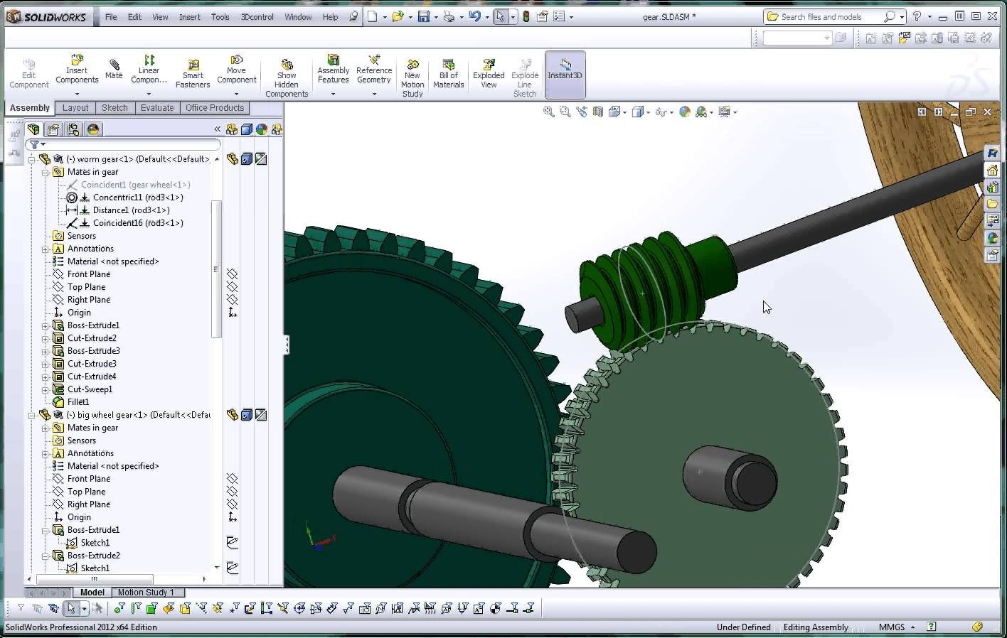 SolidWorks, Help Tutorial, How to Apply a Mate to a Worm