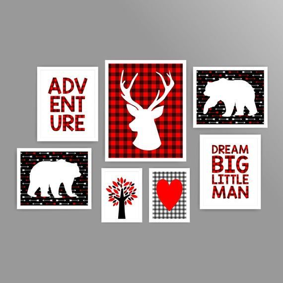 Buffalo plaid nursery art boy nursery art printable bear nursery art deer nursery art red buffalo pl#art #bear #boy #buffalo #deer #nursery #plaid #printable #red