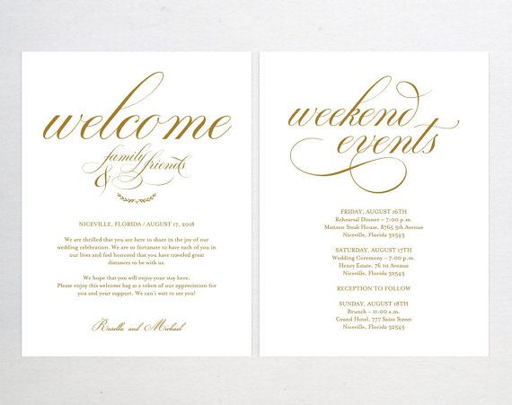 Gold Wedding Welcome Bag Note Welcome Bag Letter Wedding Itinerary