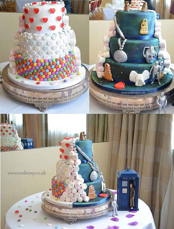 This Half CandyHalf Doctor Who Wedding Cake Is a Perfect Compromise