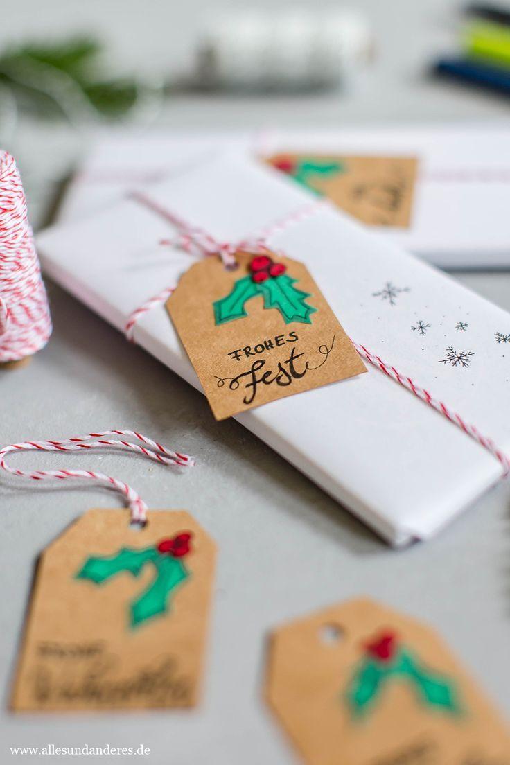 Selbstgemachte Weihnachtsgeschenke.Diy Weihnachtliche Geschenkanhanger Mit Papier Und