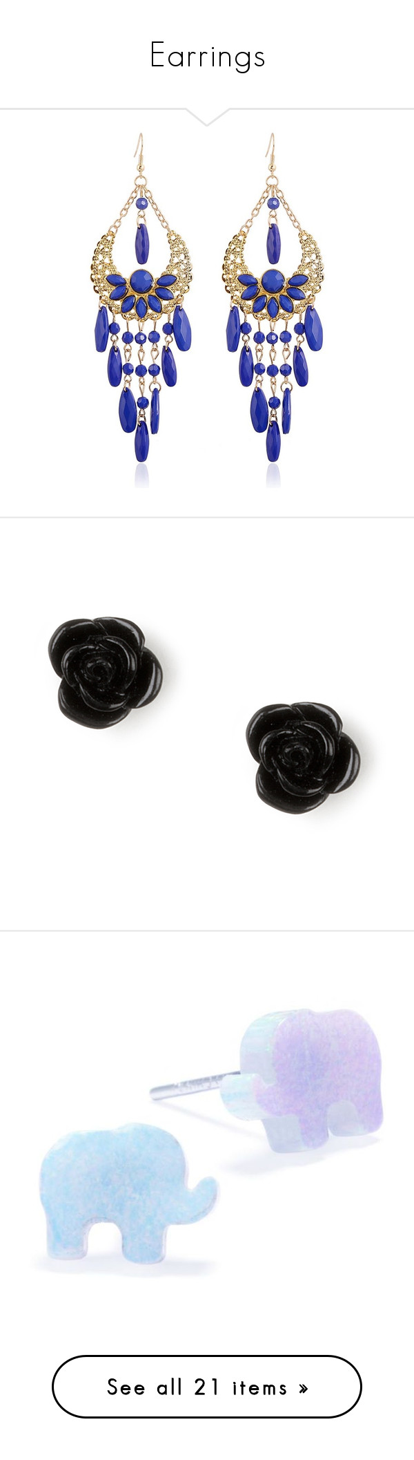 """Earrings"" by tofumint ❤ liked on Polyvore featuring jewelry, earrings, blue, flower pendant, tassle earrings, bohemian earrings, long chandelier earrings, fake earrings, rose stud earrings and rose jewellery"