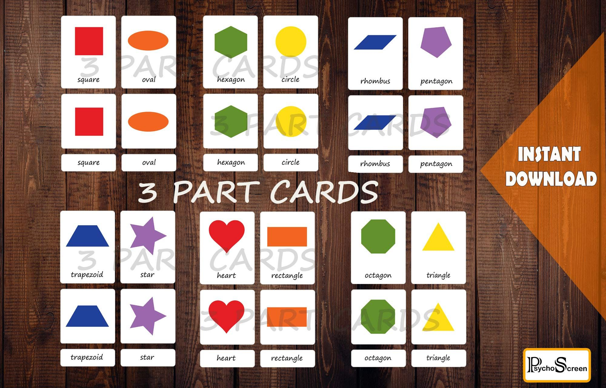 Shape Matching Game Amp 3 Part Cards Montessori Preschool