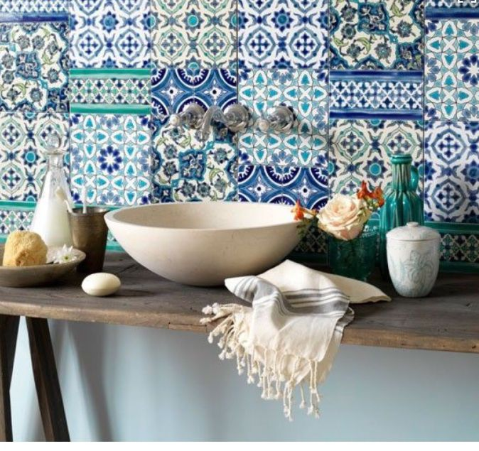 Alphabet Lifestyle Travel Inspired Home Interiors Greek Blue White Kitchen Tiles Inspiration Moroccan Bathroom Mediterranean Decor Morrocan Tile