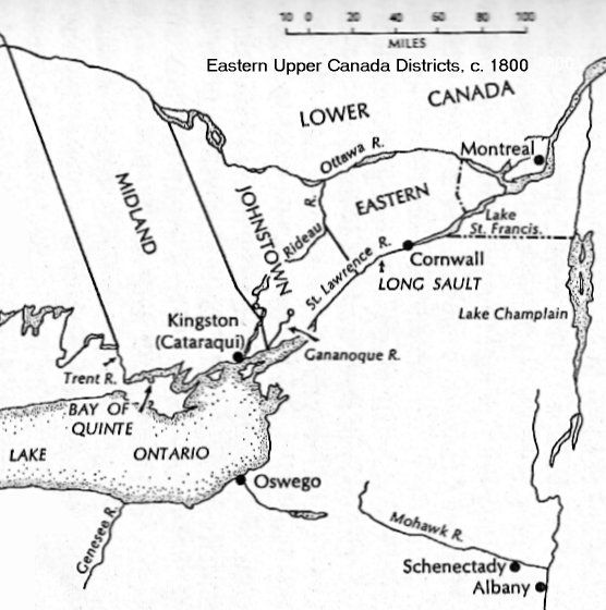 Map Of Upper Canada 1800 Johnstown District Map, Upper Canada, c. 1800   Genealogy map