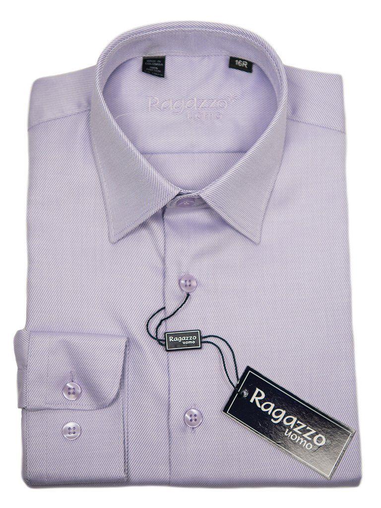 Ragazzo 9382 Lavender Boys Dress Shirt Tonal Diagonal Weave 100