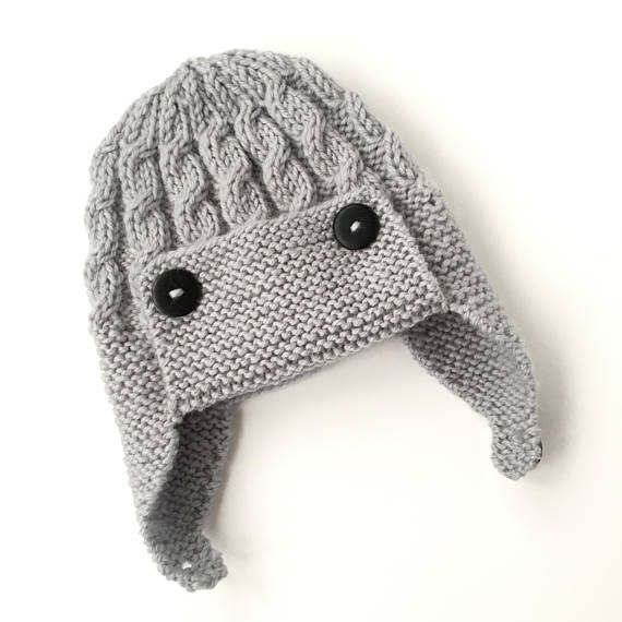 Baby Aviator Hat PDF Knitting Pattern Cabled Aviator Hat | Ropa bebe ...