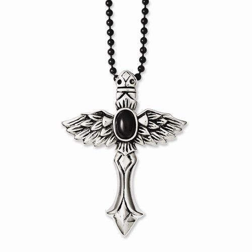 Stainless Steel Antiqued Cross w/Wings & Black Stone 24in Necklace