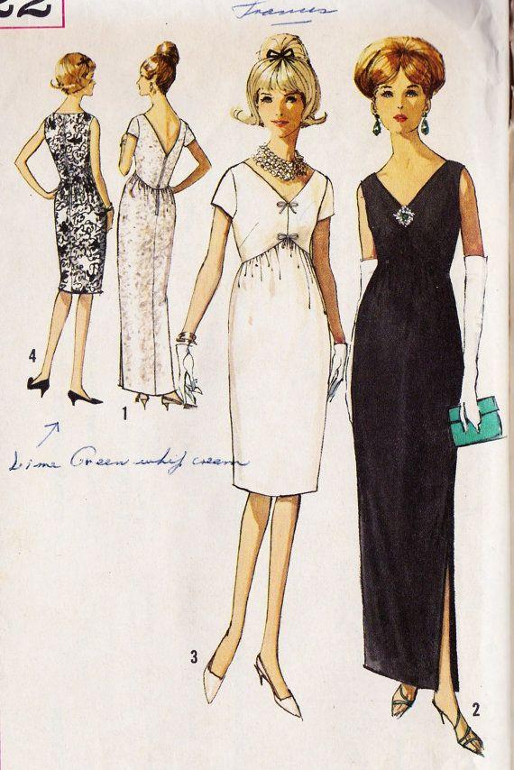 1960s Misses Cocktail Dress or Evening Gown | vintage patterns ...