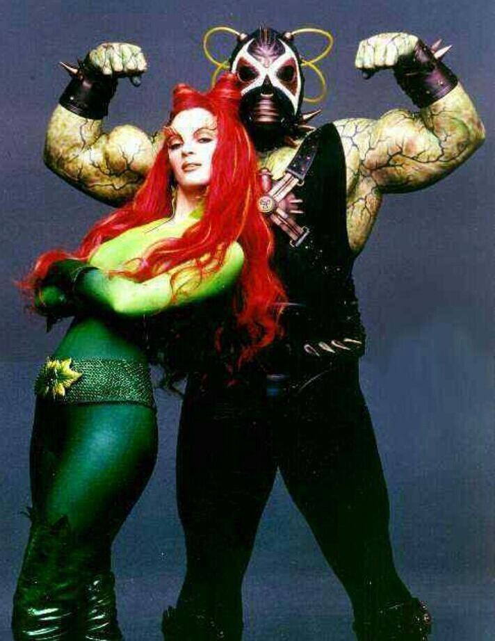 "Poison Ivy and Bane from ""Batman & Robin"" | Batman and robin 1997, Poison  ivy and bane, Poison ivy costumes"