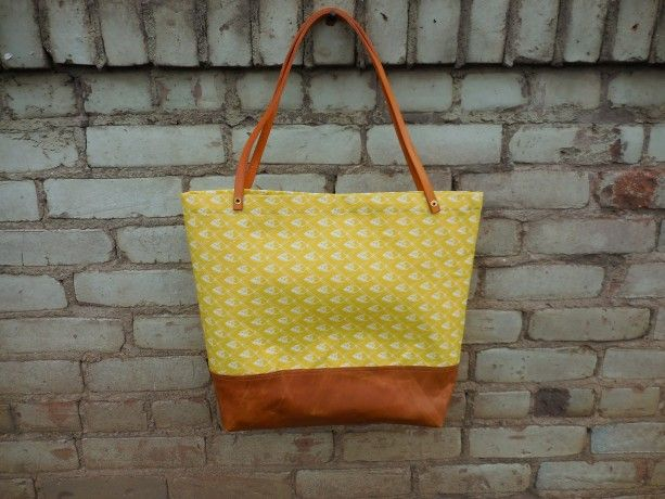 Yellow Fish Linen and Leather Tote Bag - Mustard and Cognac tote bag with  leather bottom d8b48012b1