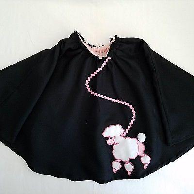 Girls Poodle Skirt Handmade 1950s Style Halloween Costume Black Pink - black skirt halloween costume ideas