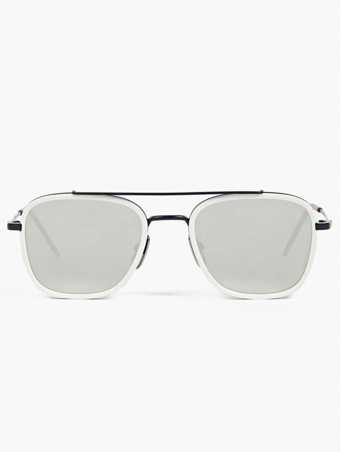 afdb96713be6 Thom Browne Men s White TB-800-D Silver Lens Sunglasses