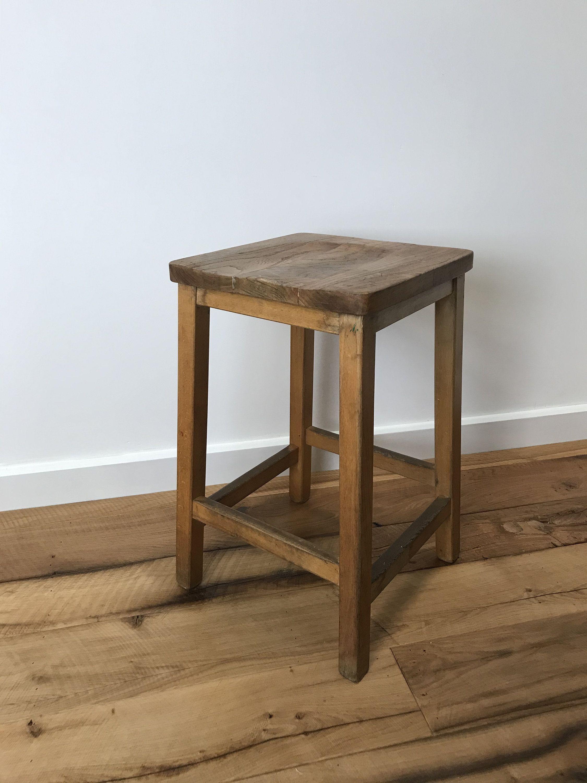 Vintage School Lab Stool, Kitchen Stool, Beech with Elm Seat 56cm High #barstool #kitchenstool #labstool #laboratorystool #schoolstool #woodstool #woodenstool #industrialfurniture