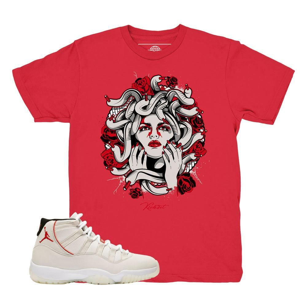 f69b2ab3d315ff Jordan 11 Platinum Tint Medusa Red Shirt in 2019