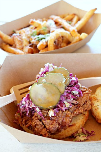You can find everything from southern style comfort food to wood fired pizza to freshly popped kettle corn and more at the Magnolia Market food truck park. Pictured is the Sic 'Em on a Chicken biscuit from Milo Local Provisions.