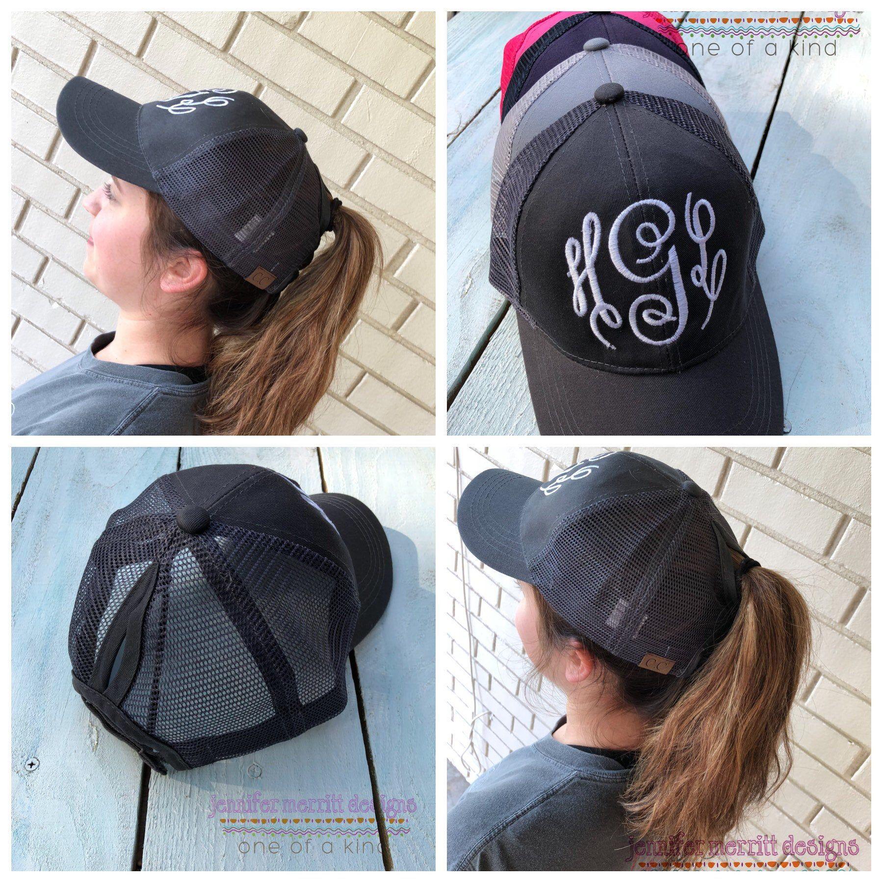 792b622a3 Ponytail Hat, High Ponytail Cap, Monogram Ponytail Hat, Messy Bun ...