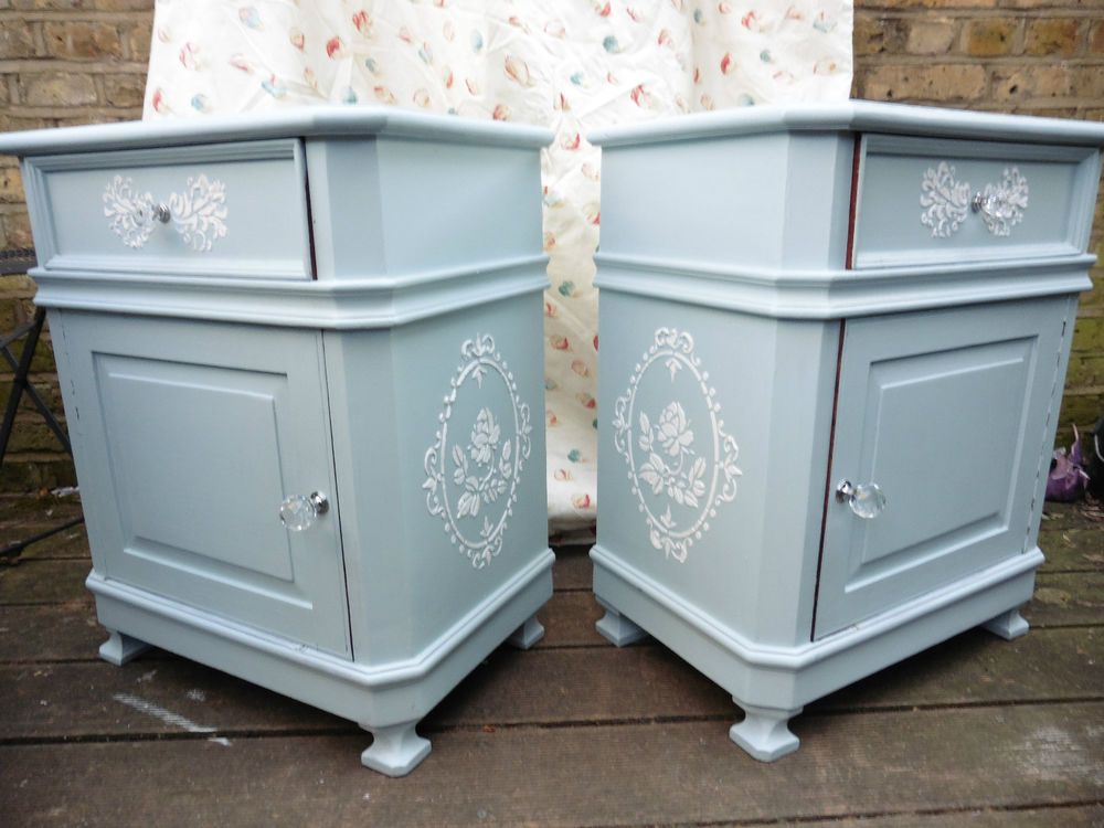 2 X Bedside Tables Cabinets Side In Duck Egg Blue Laura Ashley