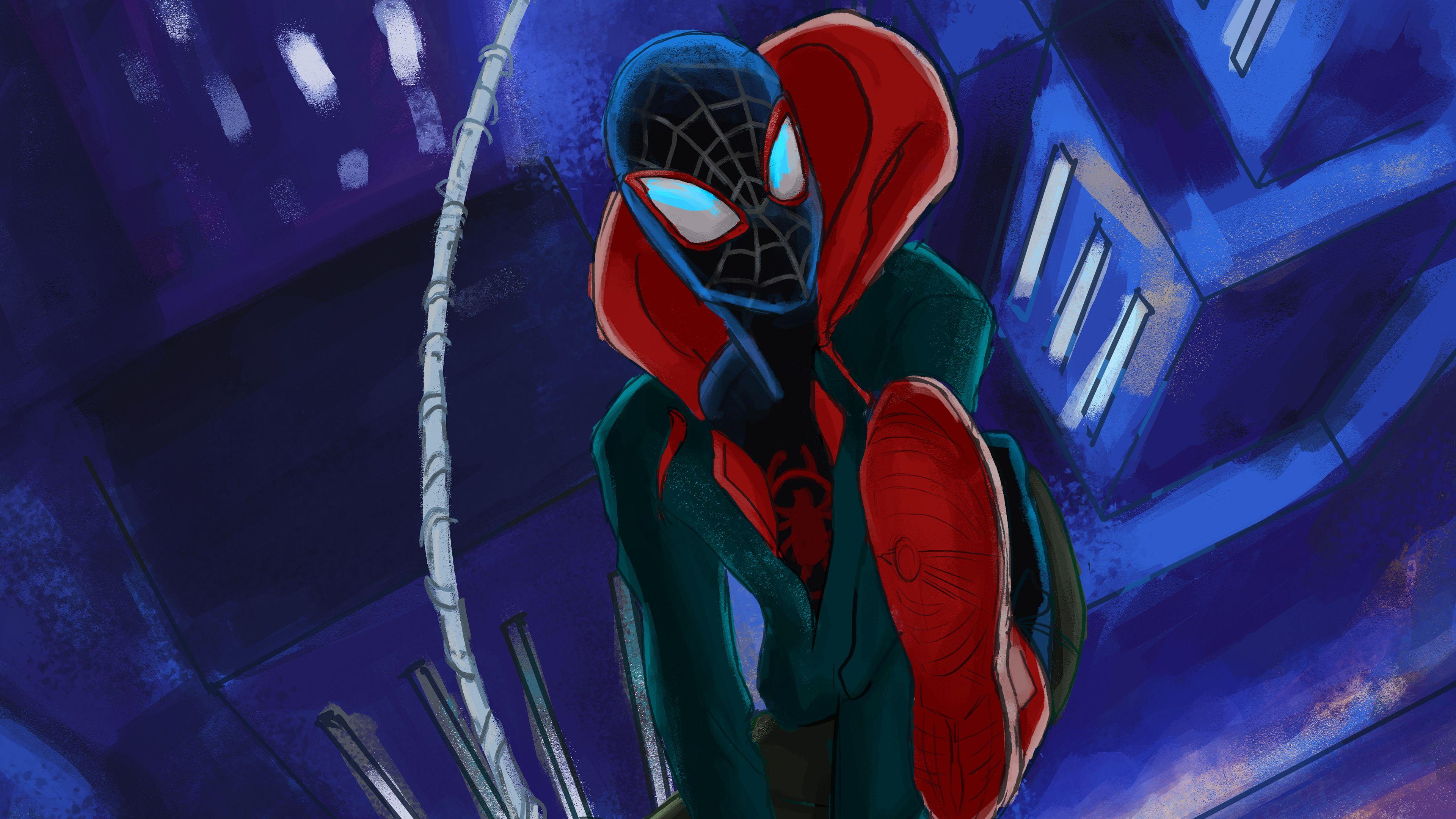 Spiderman Miles Morales Art 4k New Superheroes Wallpapers Spiderman Wallpapers Spiderman Into The Spider Verse Art Wallpaper New Superheroes New 4k Wallpaper