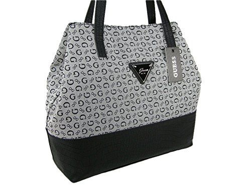 bf5ded188b42 New Guess G Logo Purse Tote Large Shoulder Hand Bag Satchel Black Gray  Abitha -- Continue to the product at the image link.