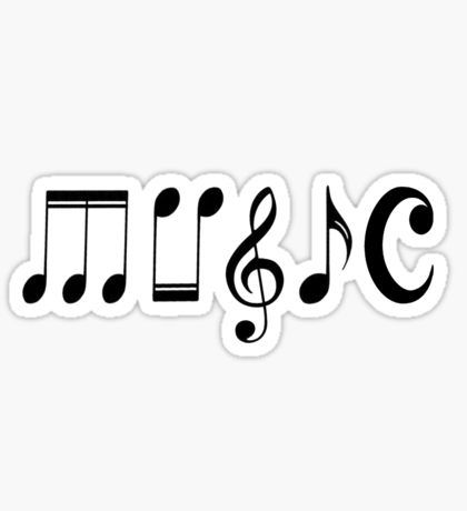 We Heart Music - Black Sticker by CoyGraphics