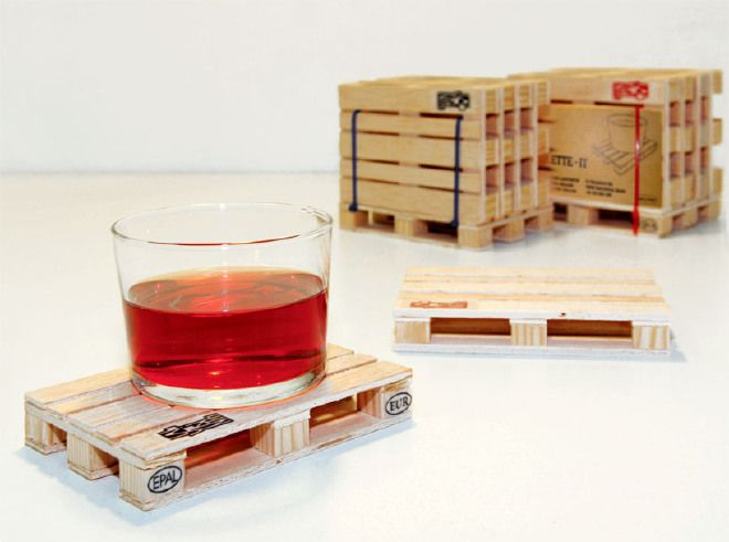 Euro palette coasters set of 4 for all kind of hot and cold drink Pallet