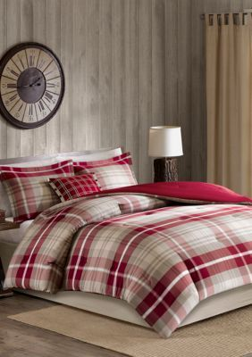 Woolrich Sheridan Oversized Cotton Comforter Set Tan Red