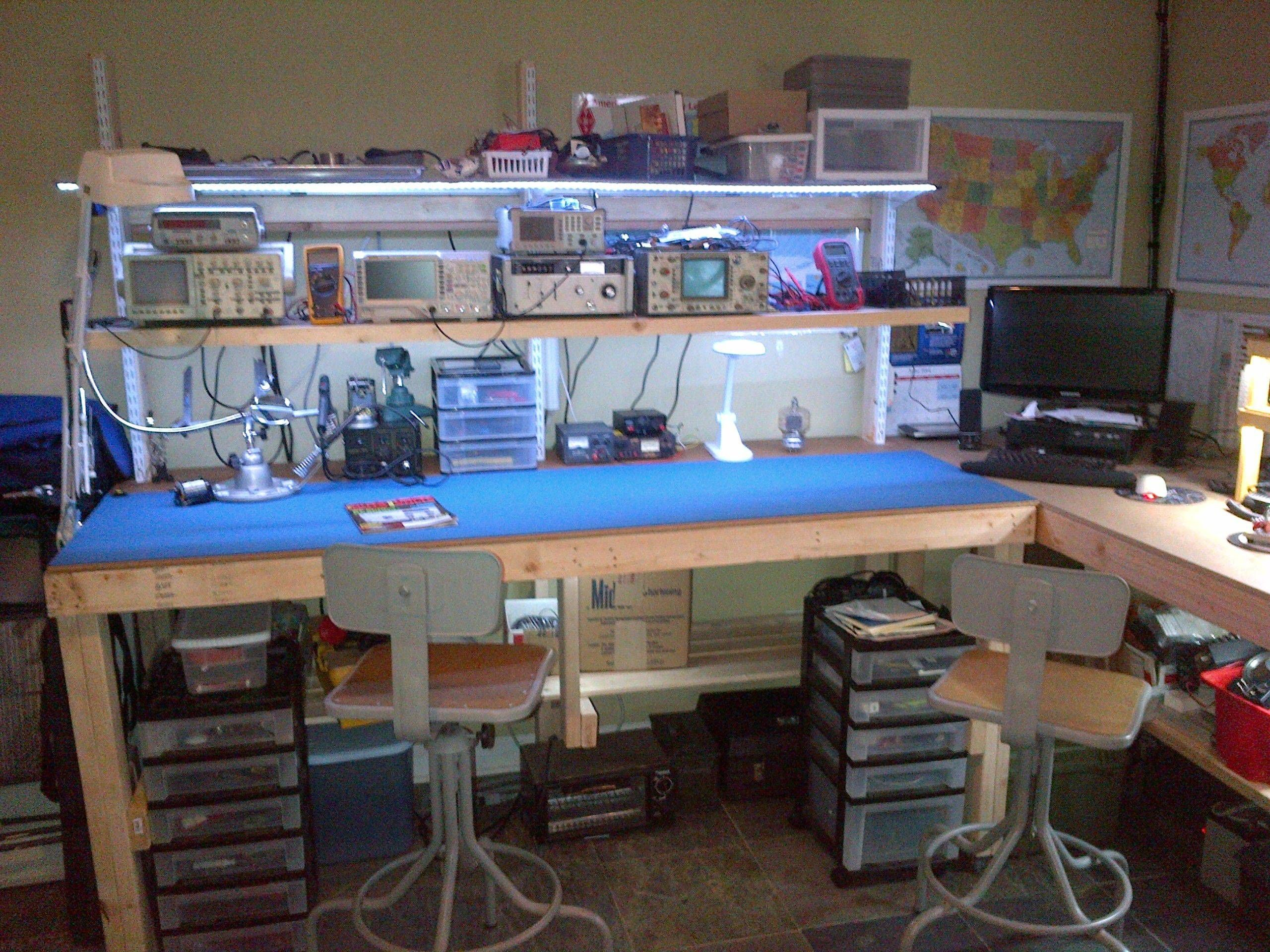 Whats Your Work Bench Lab Look Like Post Some Pictures Of Your Lab Page 31 Electronic Workbench Electronics Workshop Electronics Bench