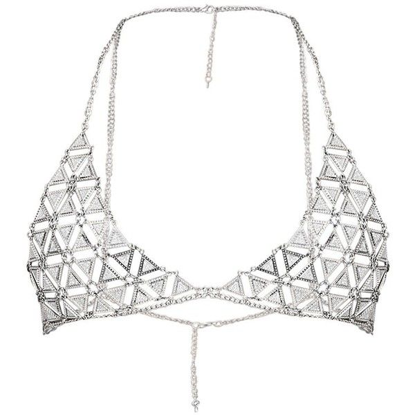 Briella Silver Glitter Chain Bra (€21) ❤ liked on Polyvore featuring intimates, bras, lingerie, tops, underwear, bralette, glitter bra, bralette lingerie, chain bra and chain lingerie