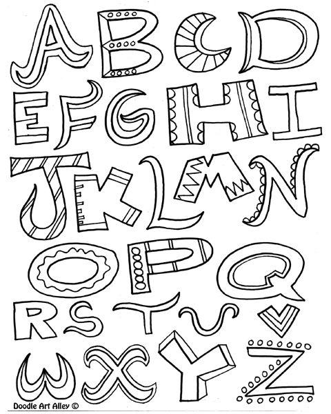 Alphabet Coloring Page Doodle Lettering Lettering Alphabet Alphabet Coloring Pages