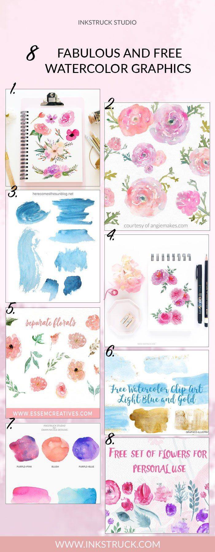 8 Free Watercolor Graphics Roundup Watercolor Art Free