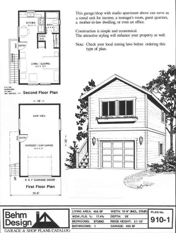 Two story 1 car garage plan 910 1 by behm design for Two story two car garage plans