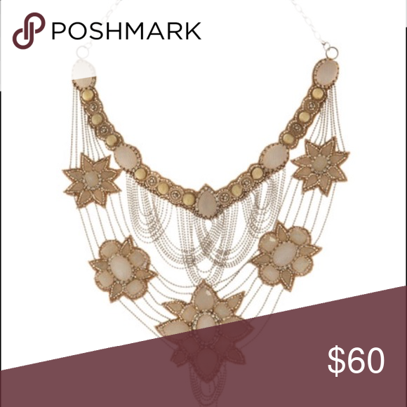 Deepa Gurnani Blush Bib Necklace (Retail  $325) Gorgeous Blush Stones Connected with Layered Silver Deepa Gurnani Jewelry Necklaces