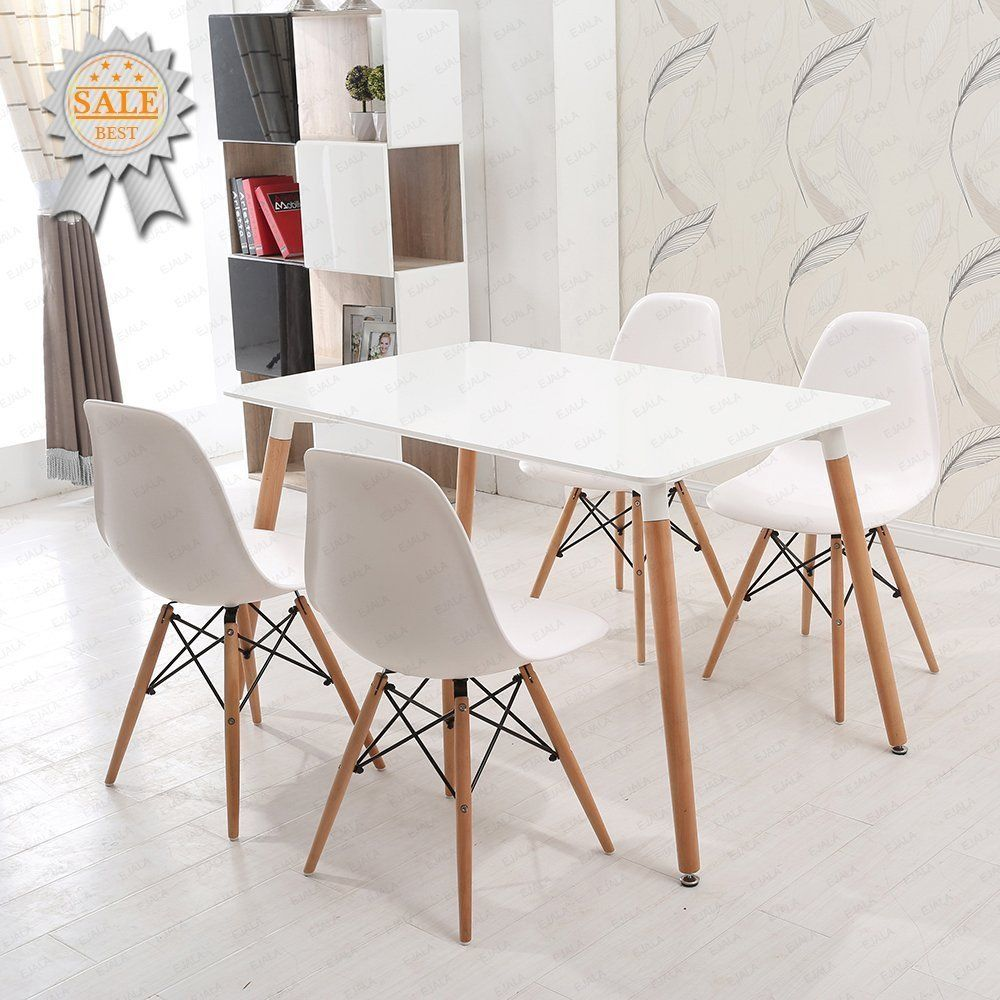 Ensemble Table Et Chaises En Bois Charles Ray Eames Schindora Inspire De La Tour Eiffel Design R White Dining Chairs White Dining Table Ikea Dining Table