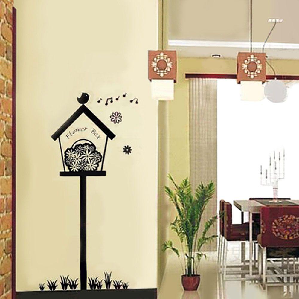 Black Flowers Box Wall Stickers | Wall decor, Walls and Wall sticker