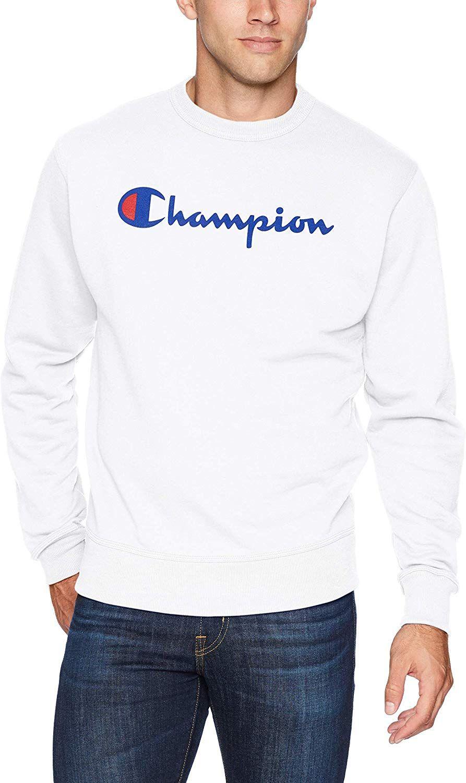 Amazon Com Champion Men S Graphic Powerblend Fleece Crew Clothing Mens Sweatshirts Mens Outfits Fresh Outfits [ 1500 x 893 Pixel ]